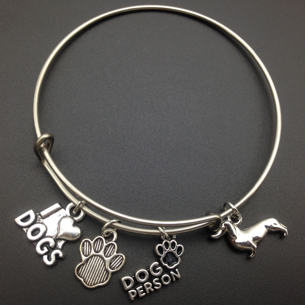 I Love Dogs Dachshund Dog Person Dog Paw Bracelets