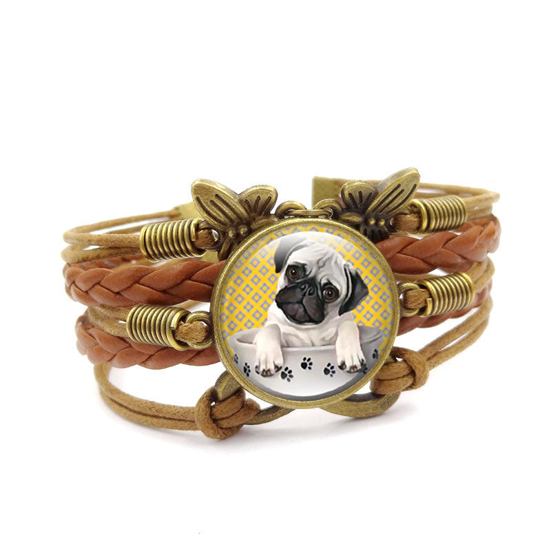 Infinite Butterfly Pug Dog Glass Leather Bracelets