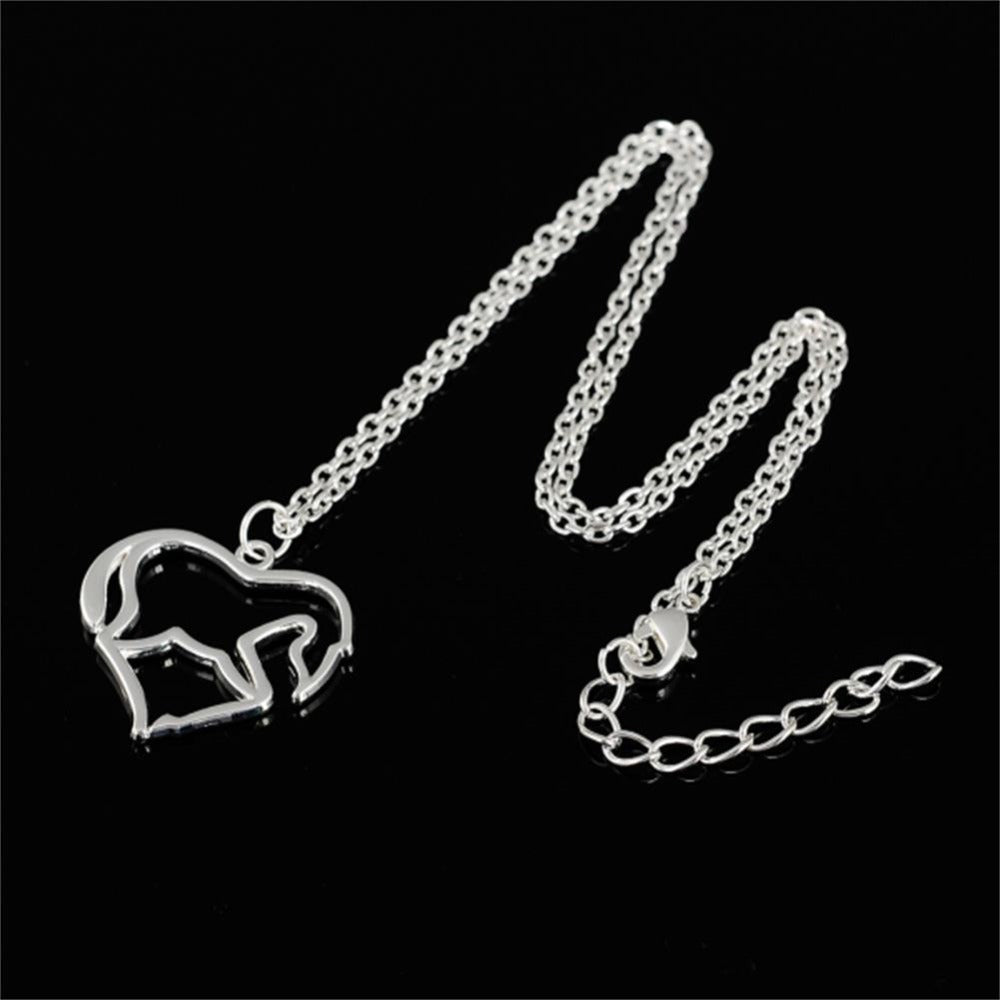 Silver Plated Iced Out Heart Shape Horse Head Necklaces
