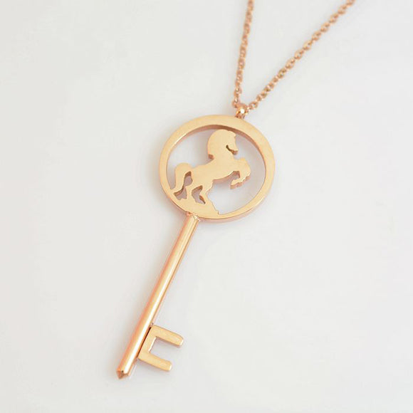 Titanium Steel Rose Gold Color Running Horse Steed Key Necklaces