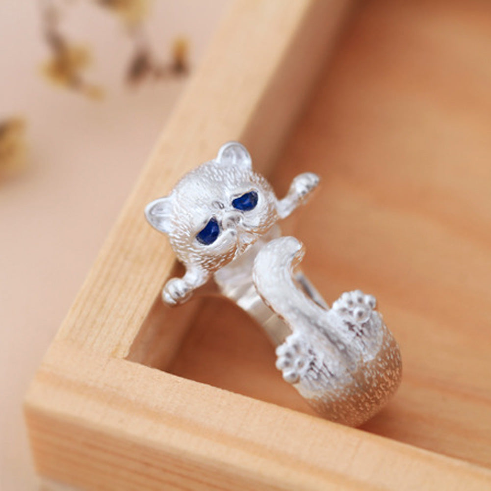 Lovely Silver Plated Cute Sad Cat Rings