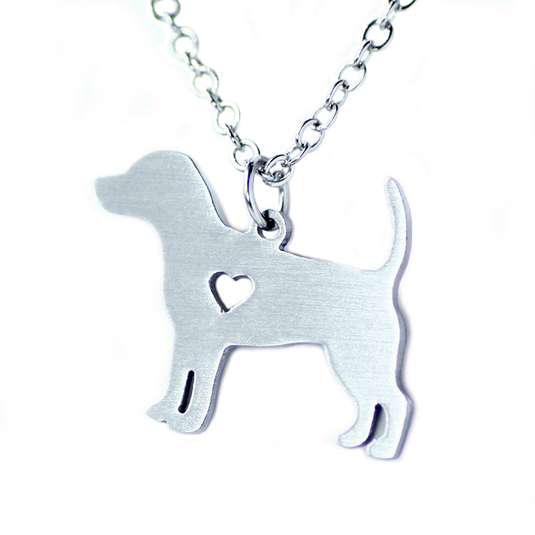 Stainless Steel Simple Beagle Dog Necklaces
