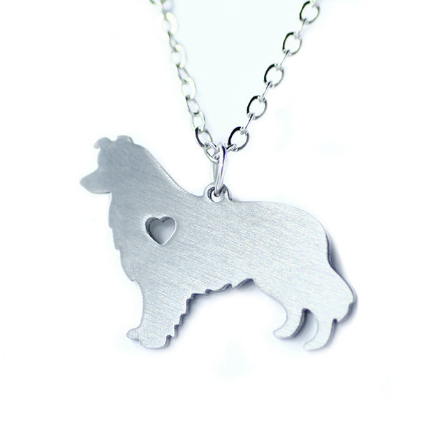 Silver Border Collie Dog Heart Necklaces