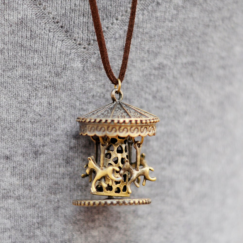 Vintage Trojan Carousel Horse Running Long Necklaces