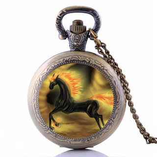 Vintage Black Nightmare Horse Pocket Watch Necklaces