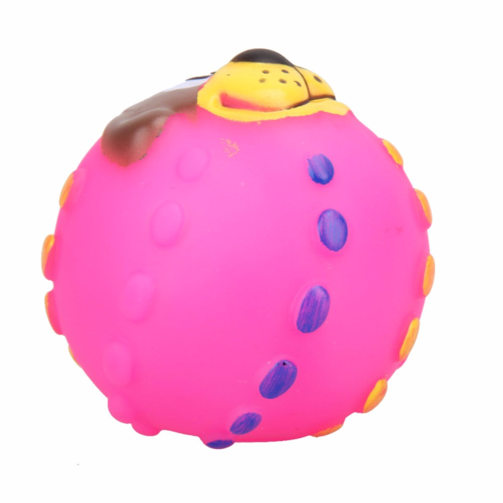 Soft Rubber Sound Dog Face Ball Toys