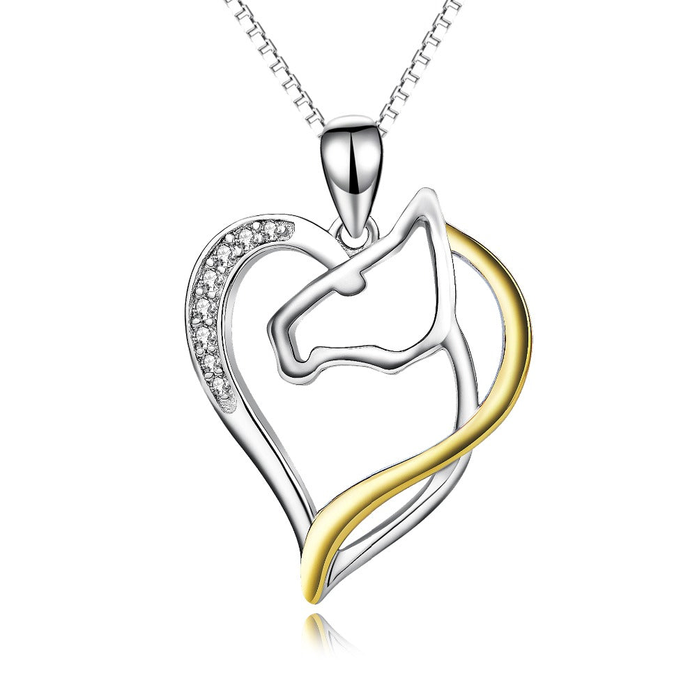 Silver Love Heart Horse Head Crystal Necklaces