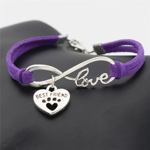Leather Personalized Antique Silver Best Friend Lover Dog Paw Bracelets