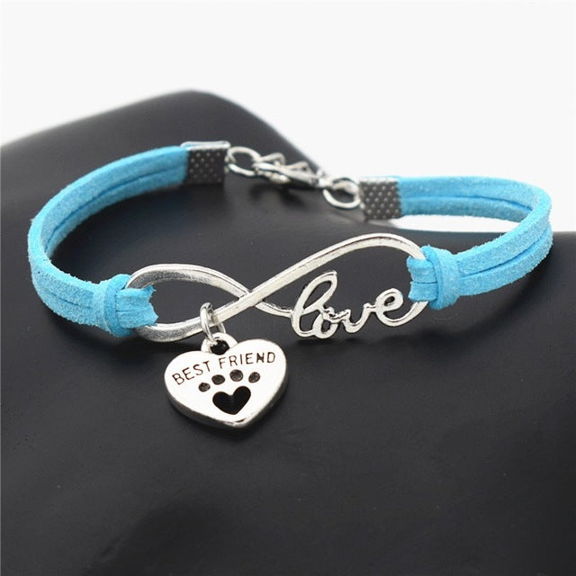 Leather Antique Silver Love Dog And Cat Paw Bracelets