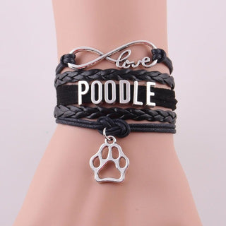 Infinity Love Poodle Dog Paw Leather Bracelets