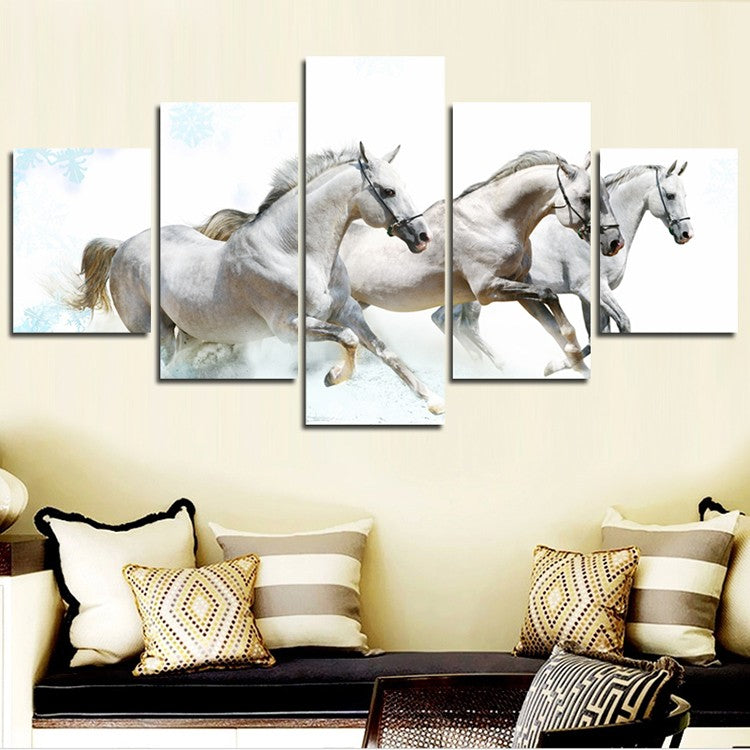 HD Canvas Prints Home Decor Wall Art Painting White Running Horse 5PCS (No Frames)