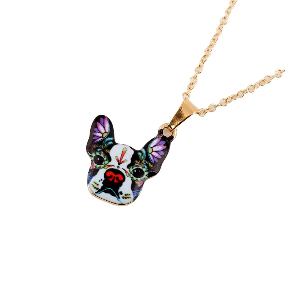 Gold 3D French Bulldog Colorful Face Dog Necklaces