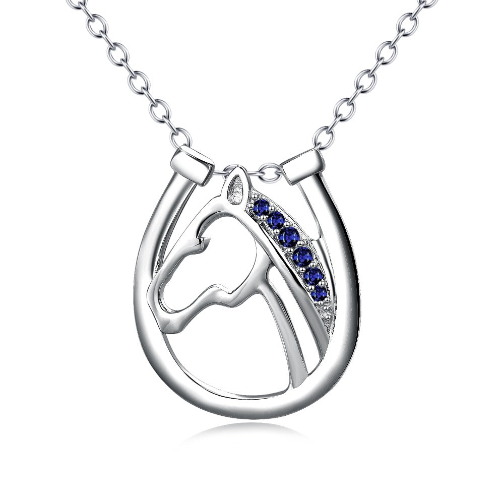 Hollow Out Horse Head Blue Crystal Oval Necklaces