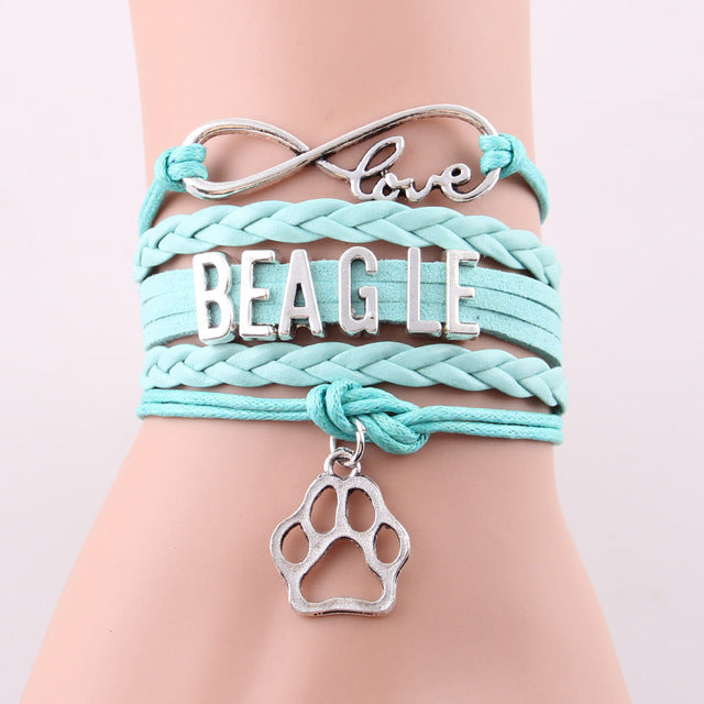 Infinity Love Beagle Dog Paw Leather Bracelets