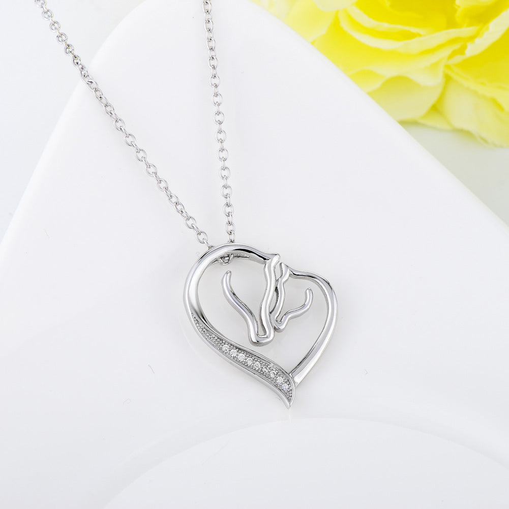 Silver Collier Crystal Heart Horse Head Necklaces