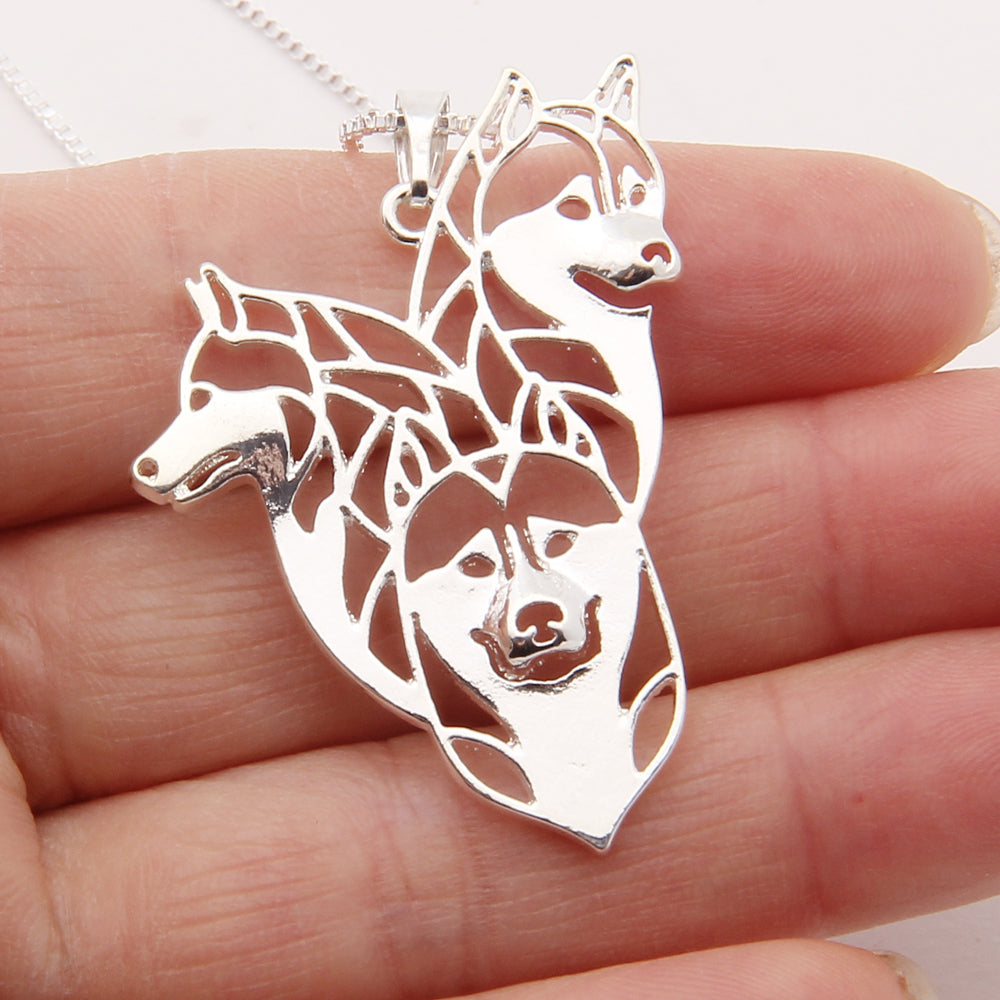 Three Siberian Husky Dog Hollow Necklaces