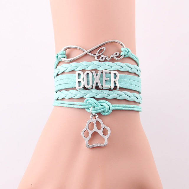 Infinity Love Boxer Dog Paw Leather Bracelets