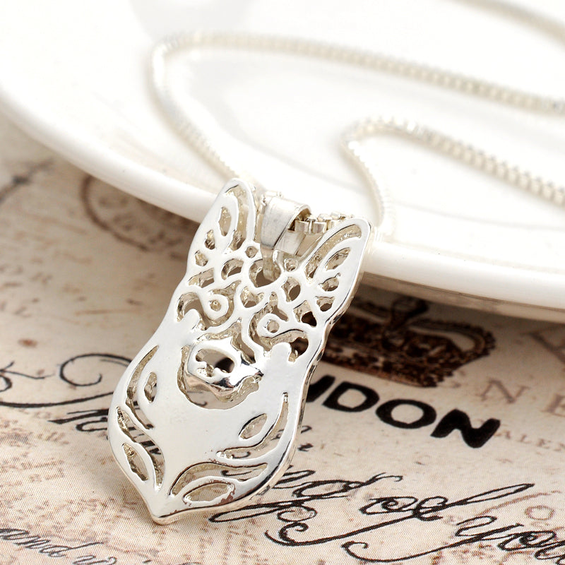 Silver Plated Hollow German Shepherd Dog Necklaces
