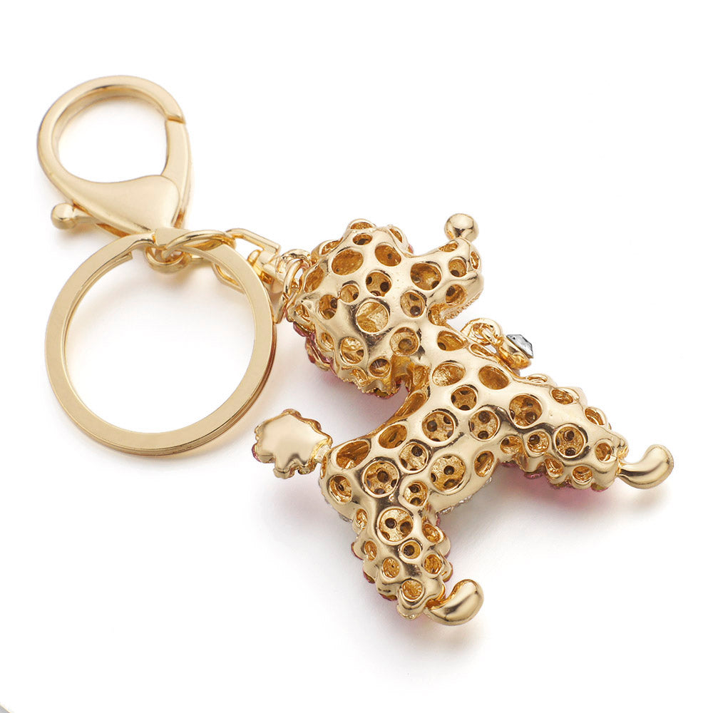 Lovely Poodle Dog Crystal Keychains