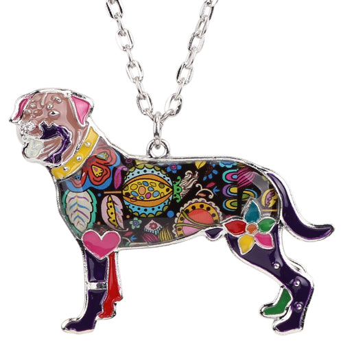 Enamel Rottweiler Dog Necklaces
