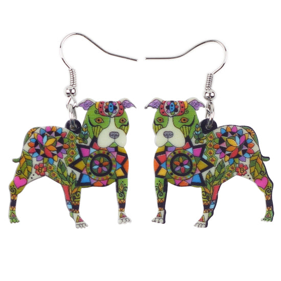 Colorful Cute Pit bull Dog Earrings