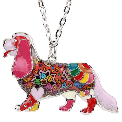 Colorful Enamel Cavalier King Charles Spaniel Dog Necklaces