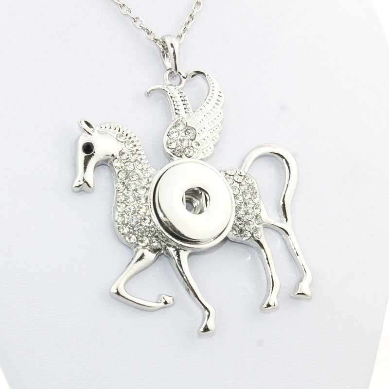 Winged Horse Crystal Snap Button Exaggerated Necklaces