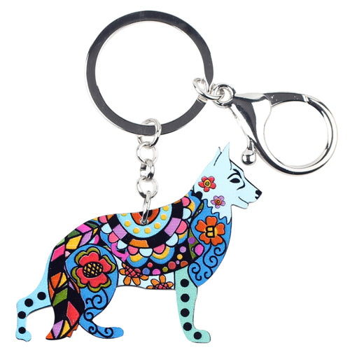 Colorful German Shepherd Dog Keychains