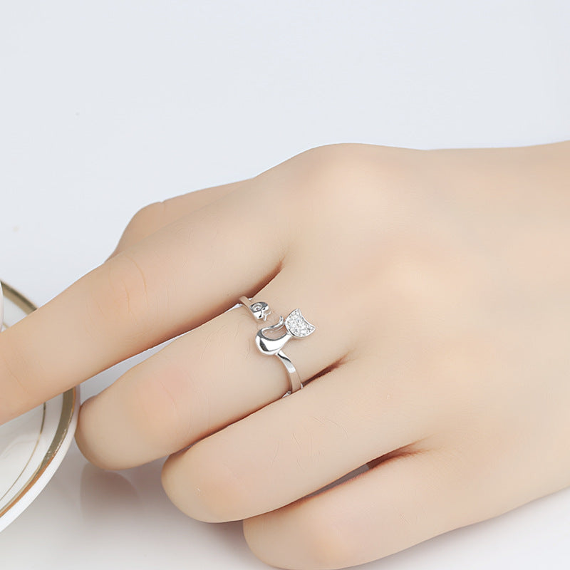 Cat Shape Crystal With Heart Rings