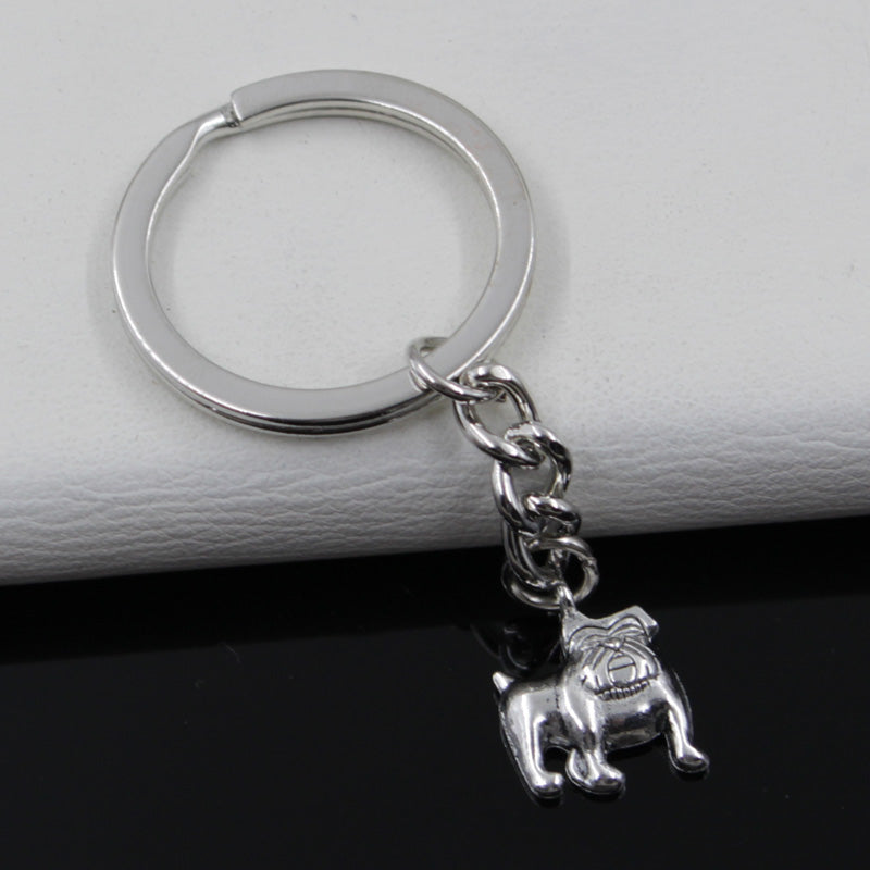 Antique Silver Plated Bulldog Keychains
