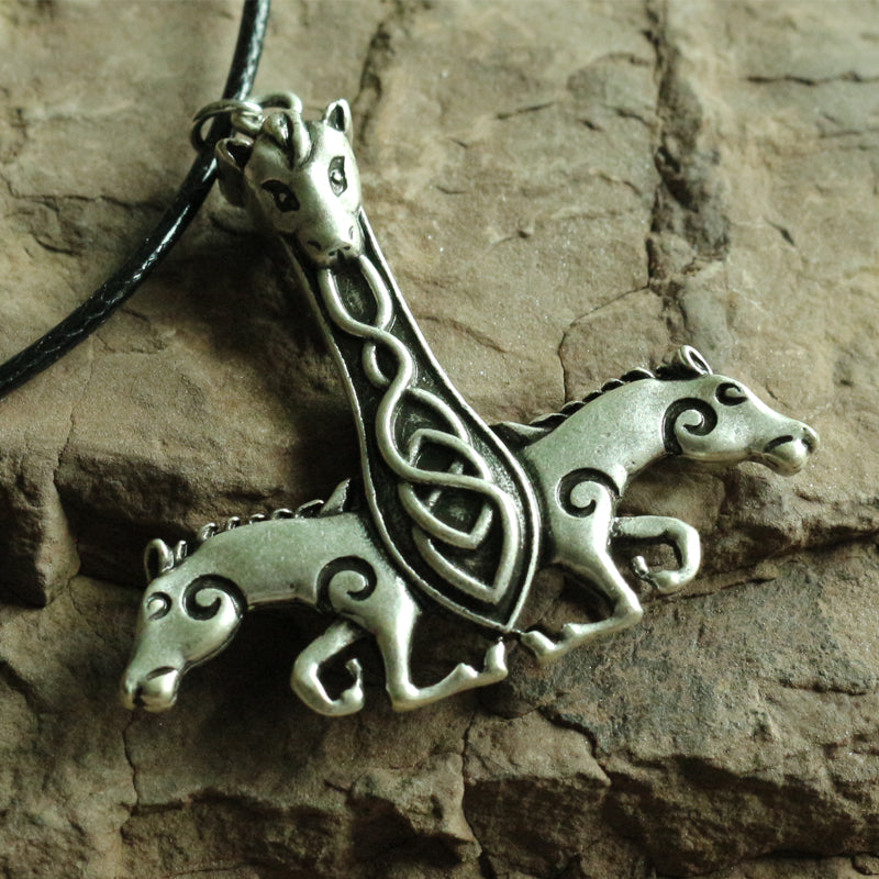 Double Horse Antique Viking Dragon Rune Necklaces