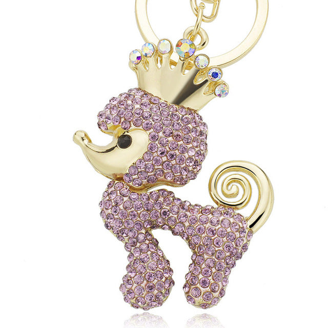 Crown Poodle Dog Rhinestone Crystal Keychains