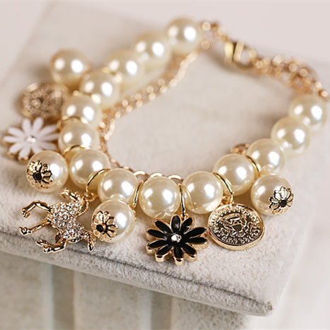 Multilayer Alloy Simulated Pearl Beaded Horse Flower Charm Bracelet
