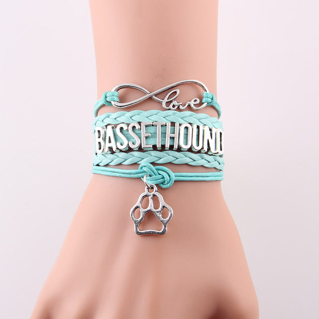 Infinity Love Basset Hound Dog Paw Leather Bracelets