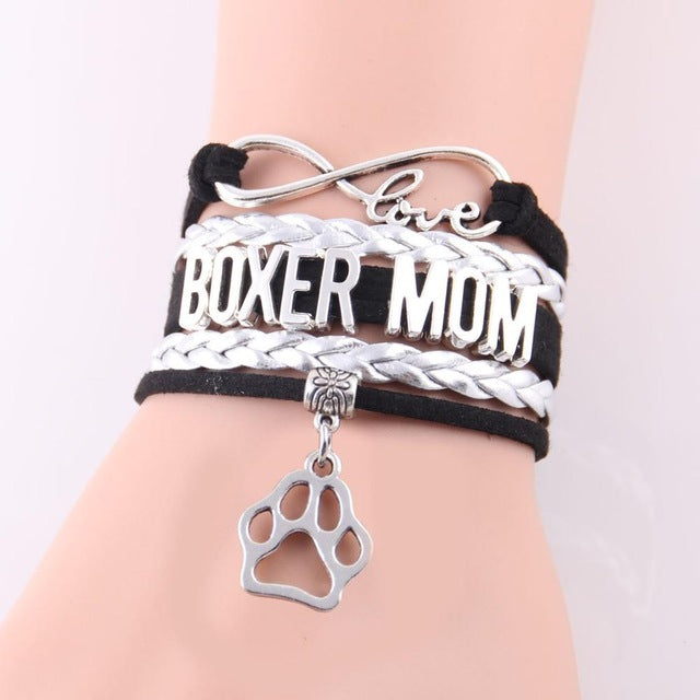 Infinity Love Boxer Mom Dog Paw Leather Bracelets