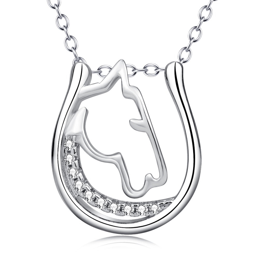 Sterling Silver Crystal Horse Head Horseshoe Hollow Necklaces