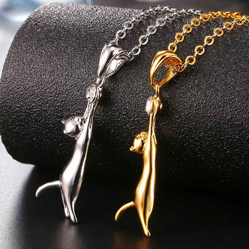 Cute Cat Catch Crystal Necklaces