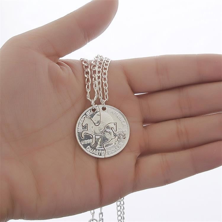 American Coin Horse Head Couple Necklaces
