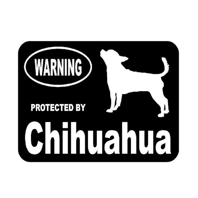 """Warning Protected By Chihuahua""  Dog Stickers"