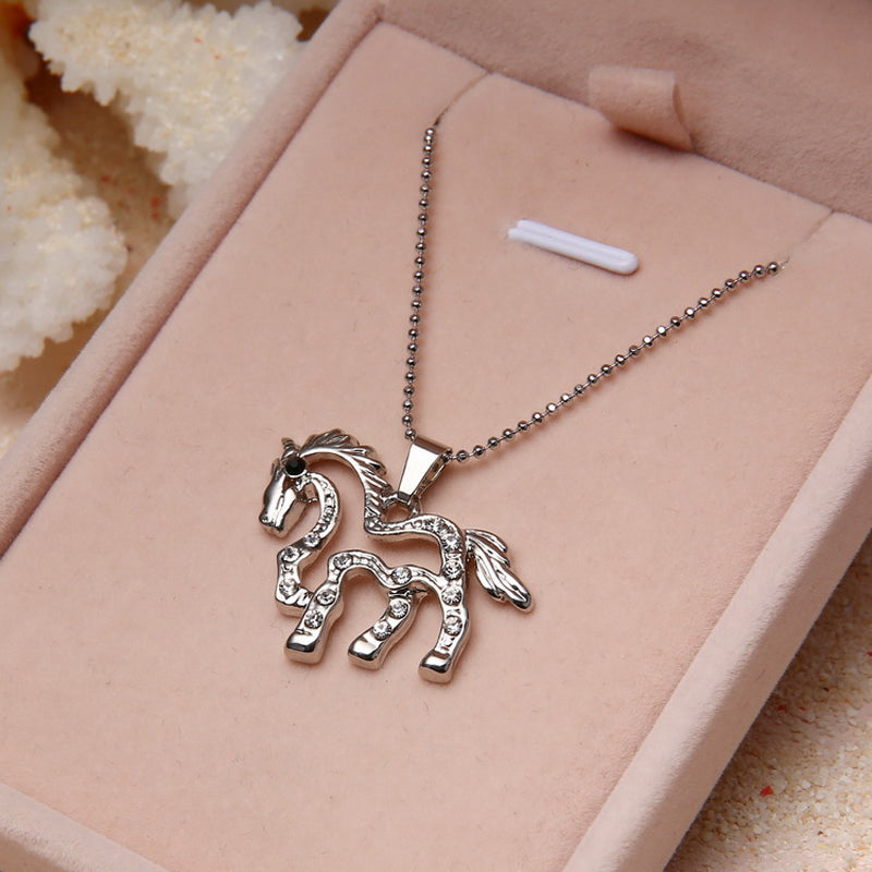 Silver Plated Crystal Running Horse Necklaces