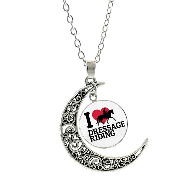 Vintage Horseback Riding Silhouette Moon Necklaces