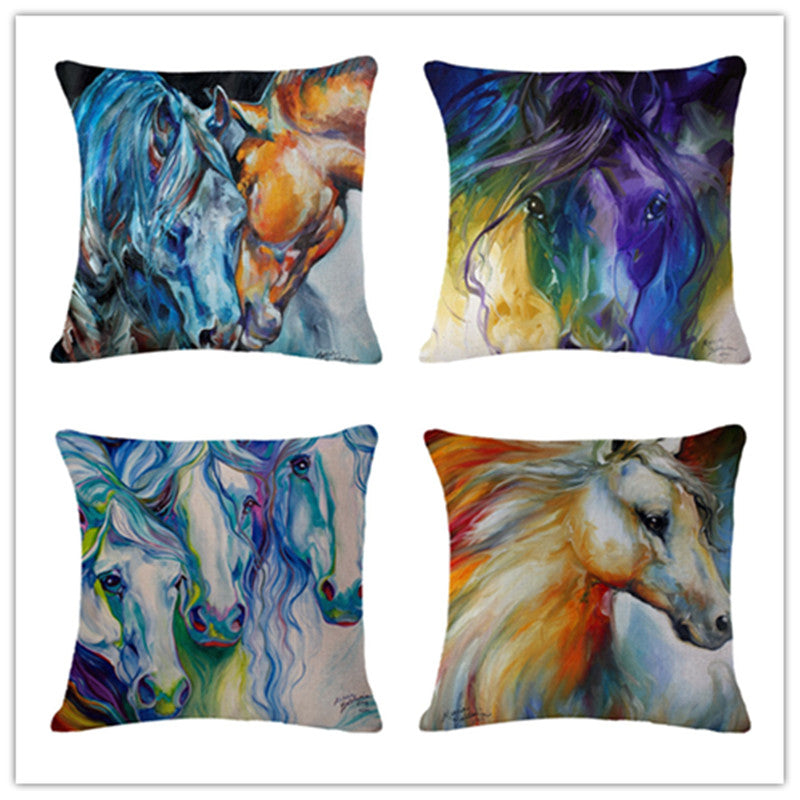 Cartoon Colorful Horse Print Pillow Covers