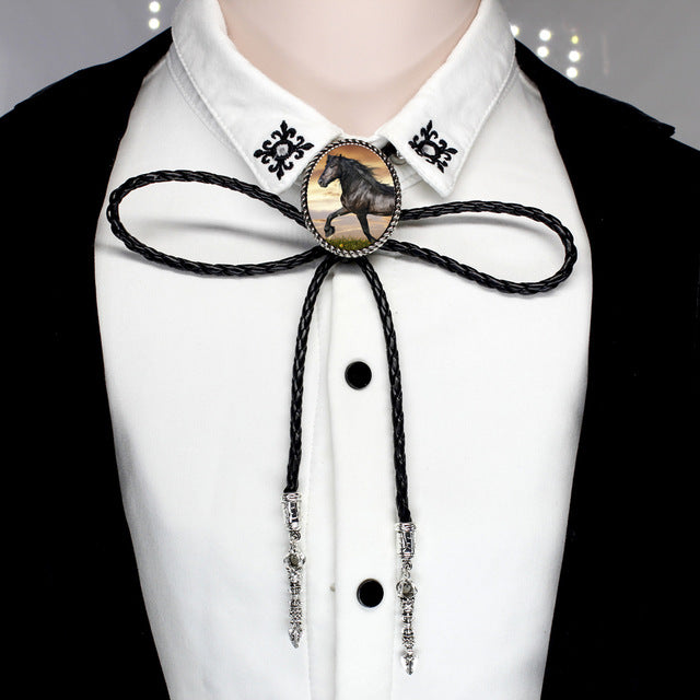 Running Horse Bolo Tie Antique Glass Photo Cabochon Leather Necklaces