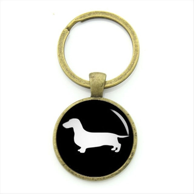 Vintage Cute Dachshund Dog Glass Keychains