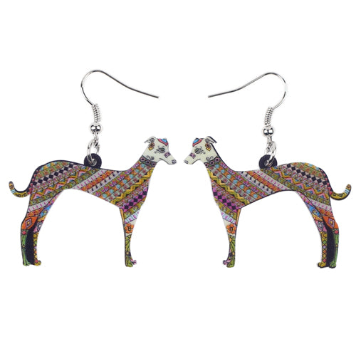 Color Cute Greyhound Dog Earrings