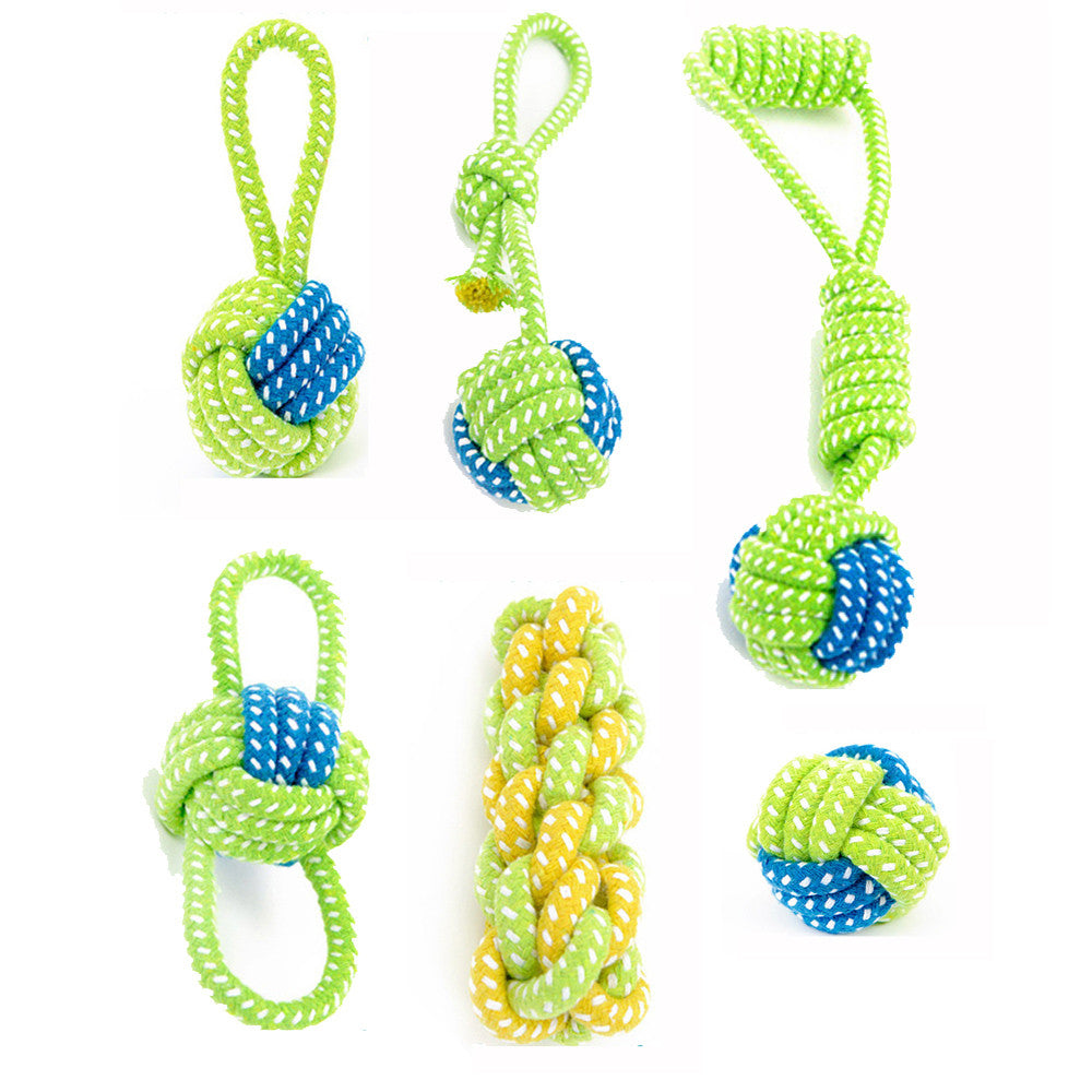 Dog Toy Puppies Chew Tooth Cleaning Cotton Rope with Handle Knot Bite Resistant Ball Teeth Molars Pet Toys For Large Small Dogs