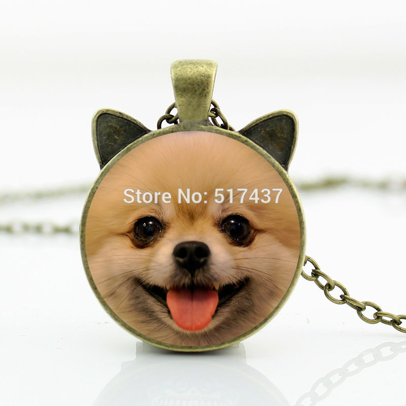 Smiling Pomeranian Dog Necklaces