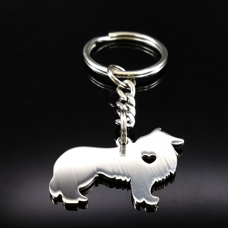 Silver Color Cute Border Collie Dog Keychains
