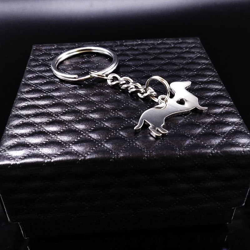 Cute Dachshund Dog Heart Stainless Steel Keychains
