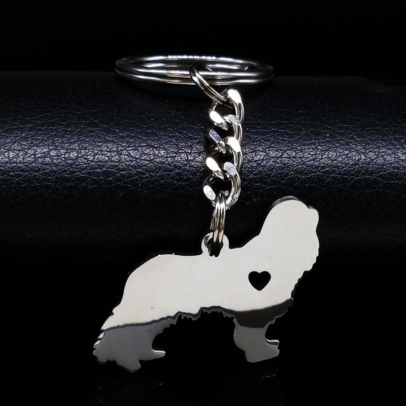 Cavalier King Charles Spaniel Dog Silver Color Stainless Steel Keychains